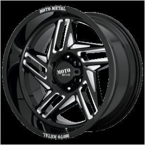 20x10 5x127 Moto Metal Offroad Wheels MO996 Ripsaw Gloss Black Milled -18  offset  71.5  hub
