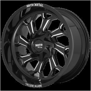 20x10 5x127/5x139.7 Moto Metal Offroad Wheels MO999 Gloss Black Milled -18  offset  78.1  hub