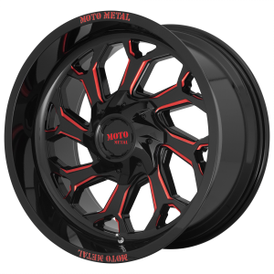 20x10 5x127/5x139.7 Moto Metal Offroad Wheels MO999 Gloss Black Milled With Red Tint -18  offset  78.1  hub