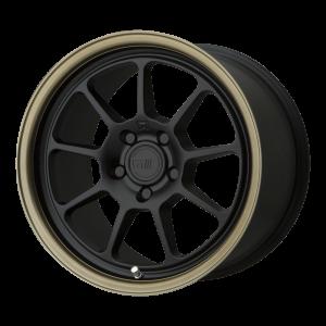 17x8.5 5x112 Motegi Wheels MR135 Matte Black Center Bronze Lip 35 offset 72.6 hub
