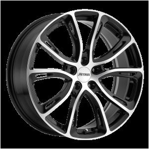 17x7.5 5x100 Petrol Wheels P5A Gloss Black With Machined Cut Face 35 offset 72.1 hub