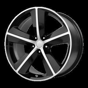 20x9 5x115 OE Creations Replica Wheels PR123 Gloss Black/Machined Spokes And Lip 20 offset 71.5 hub