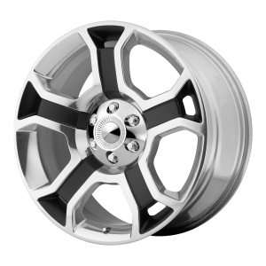 22x9 6x135 OE Creations Replica Wheels PR127 Gloss Black/Polished Spokes And Lip 44 offset 87.1 hub