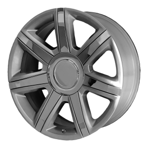 22x9 6x139.7 OE Creations Replica Wheels PR164 Silver With Chrome Accents 24 offset 78.3 hub