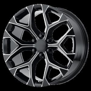 20x9 6x139.7 OE Creations Replica Wheels PR176 Gloss Black Milled 24 offset 78.1 hub