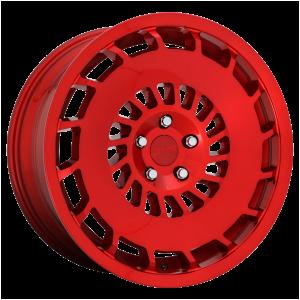 18x8.5 5x112 Rotiform Wheels R108 CCV Candy Red 45 offset 66.56 hub