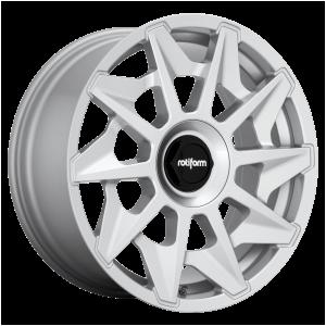 18x8.5 5x112 Rotiform Wheels R124 CVT Gloss Silver 45 offset 66.5 hub