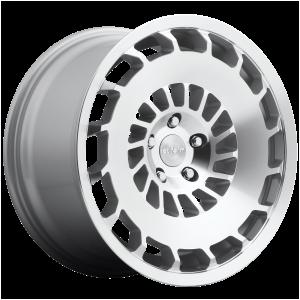 18x8.5 5x112 Rotiform Wheels R135 CCV Gloss Silver Machined 35 offset 66.56 hub