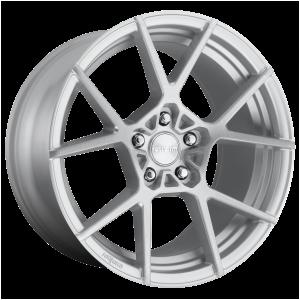 18x8.5 5x112 Rotiform Wheels R138 KPS Gloss Silver Brushed 35 offset 66.56 hub