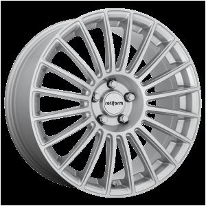 18x8.5 5x112 Rotiform Wheels R153 BUC Gloss Silver 45 offset 66.56 hub