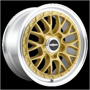 18x8.5 5x112 Rotiform Wheels R156 LSR Matte Gold Machined 35 offset 66.56 hub