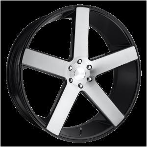 22x9.5 5x127 DUB Wheels S217 Baller Gloss Black Brushed 11 offset 78.1 hub