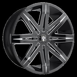 20x9  DUB Wheels S227 Stacks Gloss Black Milled 15 offset 72.56 hub