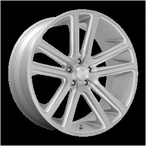 24x10 5x115 DUB Wheels S257 Flex Gloss Silver Brushed Face 20 offset 71.6 hub