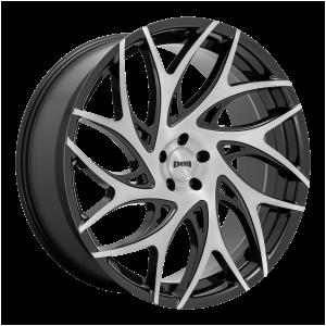 24x10 5x115 DUB Wheels S260 G.O.A.T. Brushed Face With Gloss Black Dark Tint Spokes 15 offset 71.6 hub