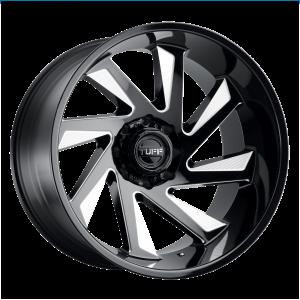22x12 5x127 Tuff Wheels T1B Gloss Black With Milled Spokes -45 offset 71.5 hub