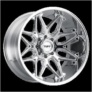 20x12 5x127 Tuff Wheels T3B Chrome -45 offset 71.5 hub