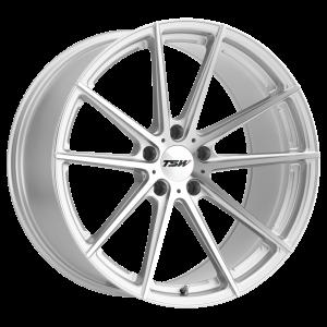 17x8 5x100 TSW Wheels Bathurst Silver With Mirror Cut Face 35 offset 72.1 hub