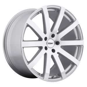 17x8 5x100 TSW Wheels Brooklands Silver With Mirror-Cut Face 35 offset 72.1 hub