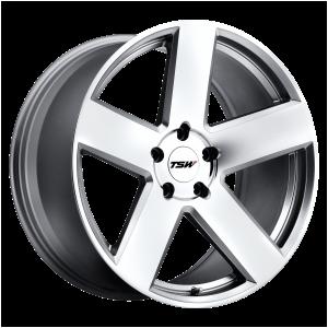 17x8 5x100 TSW Wheels Bristol Silver With Mirror-Cut Face 35 offset 72.1 hub