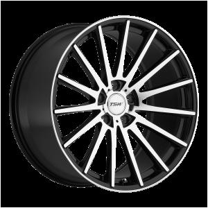 17x8 5x100 TSW Wheels Chicane Gloss Black With Mirror Face 35 offset 72.1 hub
