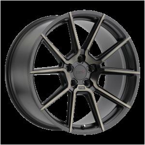 17x8 5x108 TSW Wheels Chrono Matte Black With Machine Face And Dark Tint 40 offset 72.1 hub