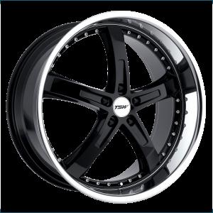 17x8 5x100 TSW Wheels Jarama Gloss Black With Mirror Cut Lip 35 offset 72.1 hub