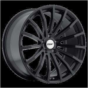 17x8 5x100 TSW Wheels Mallory Matte Black 35 offset 72.1 hub