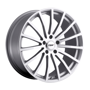 17x7 4x100 TSW Wheels Mallory Silver With Mirror Cut Face 40 offset 72.1 hub