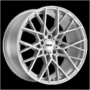 17x8 5x100 TSW Wheels Sebring Silver With  Mirror Cut Face 35 offset 72.1 hub