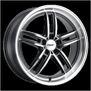 18x8.5 5x100 TSW Wheels Suzuka Gloss Gunmetal With Mirror Cut Face And Lip 35 offset 72.1 hub