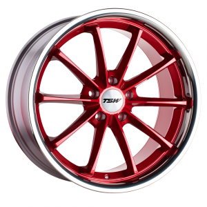 18x8.5 5x114.3 TSW Wheels Sweep Candy Red With Stainless Lip 40 offset 76.1 hub