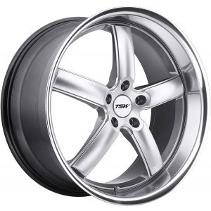 18x9.5 5x112 TSW Wheels Stowe Hyper Silver With Mirror Cut Lip 35 offset 72.1 hub