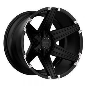 20x12 8x170 Tuff Wheels T12 Satin Black With Milled Spokes -45 offset 130.81 hub