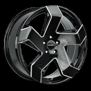 20x8.5 Strada Wheels Coltello 5x114.3 35 ET 72.6 hub - Gloss Black Milled Edge