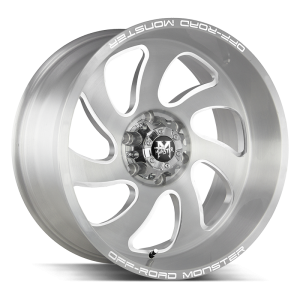 20x10 Off Road Monster Wheels M07 5x127 -44 ET 78.1 hub - Brushed Face Silver