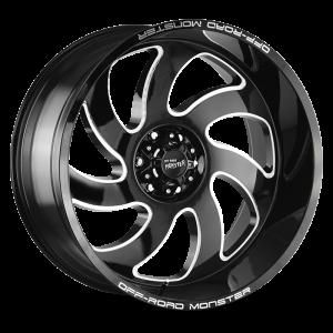 20x10 Off Road Monster Wheels M07 5x127 -44 ET 78.1 hub - Gloss Black Milled