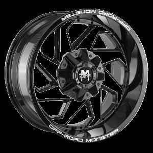 20x10 Off Road Monster Wheels M09 6x135 -44 ET 106.4 hub - Gloss Black Machined