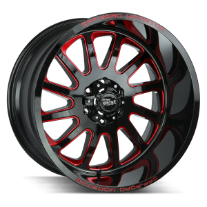 17x9 Off Road Monster Wheels M17 5x127 -44 ET 78.1 hub - Gloss Black Candy Red Milled