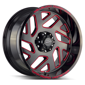 20x10 Off Road Monster Wheels M19 5x127 -44 ET 78.1 hub - Gloss Black Candy Red Milled