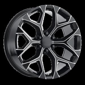22x9 Strada OE Replica Wheels Snowflake 6x139.7 24 ET 78.1 hub - Gloss Black Milled