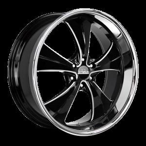 24x10 Strada Street Classic Wheels Old Skool 6x135 24 ET 87.1 hub - Gloss Black Milled SS Lip