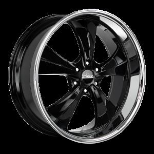24x10 Strada Street Classic Wheels Old Skool 6x139.7 24 ET 106.4 hub - Gloss Black SS Lip
