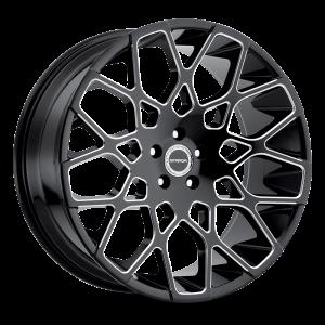 22x9.5 Strada Wheels Buca 5x115 15 ET 72.6 hub - Gloss Black Milled