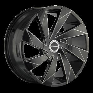 20x8.5 Strada Wheels Moto 5x100 35 ET 74.1 hub - Gloss Black Milled Edge Spoke
