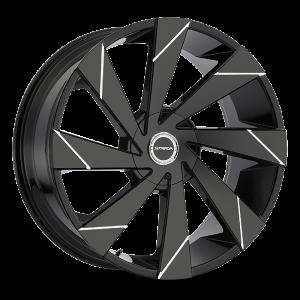 20x8.5 Strada Wheels Moto 5x100 35 ET 74.1 hub - Gloss Black Milled Line