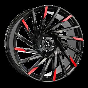 20x8.5 Xcess Wheels X02 5x114.3 35 ET 72.6 hub - Gloss Black Machined Red Tips