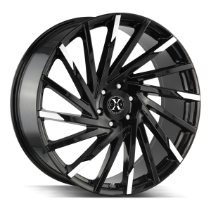 20x8.5 Xcess Wheels X02 5x112 35 ET 72.6 hub - Gloss Black Machined Tips