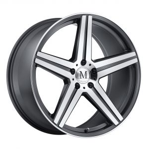 17x8 Mandrus Estrella GUNMETAL W/MIRROR CUT FACE & LIP EDGE