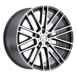 17x8 Mandrus Masche SEMI GLOSS BLACK W/MIRROR CUT FACE & TRANSLUCENT CLEAR